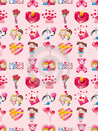 Het naadloze patroon van de Dag van Valentijnskaarten