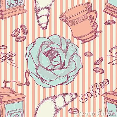 Het naadloze patroon van de koffie