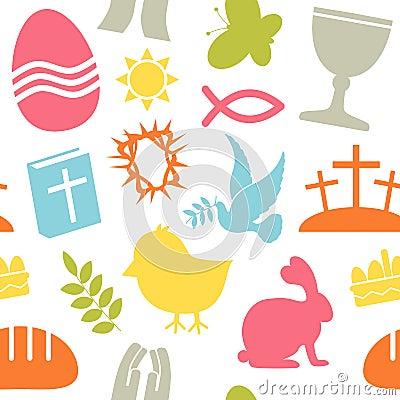 Het Naadloze Patroon van de Pictogrammen van Pasen