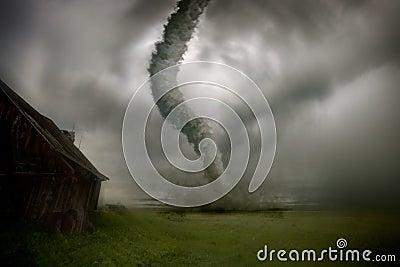 Het naderen van tornado