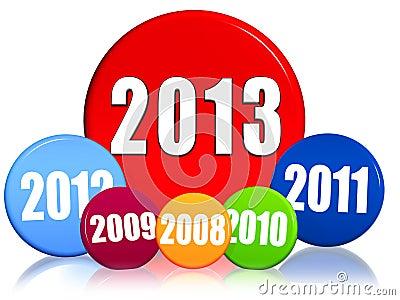 Het nieuwe jaar 2013, vorige jaren, kleurde cirkels