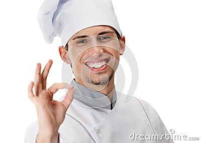 Het o.k. gesturing van de kok