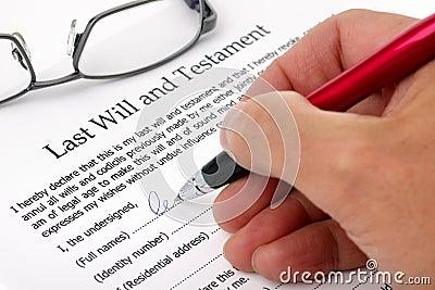 Het ondertekenen het laatst zal en Testament