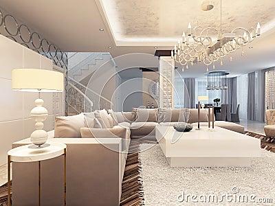 Het Ontwerp Heldere Woonkamer Van Het Luxeart Deco Met Grote ...