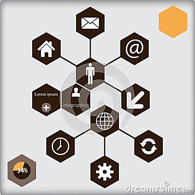 Het ontwerp van het Infographicmalplaatje - veelhoekachtergrond.