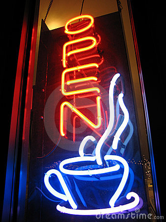 Het open Teken van het Neon van de Koffie