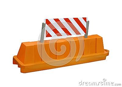 Het oranje teken van de de wegbarrière van de eindeveiligheid, niemand, is