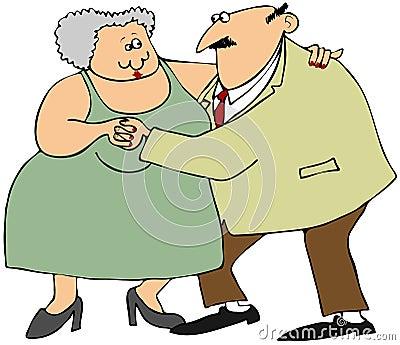 Het oude paar dansen