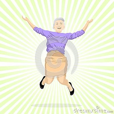 Het oude vrouw springen van vreugde