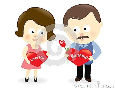 Het paar van de valentijnskaart