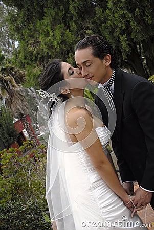 Het paar van het huwelijk het kussen