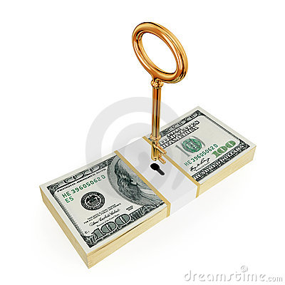 Het pak van de dollar met gouden hierboven sleutel.