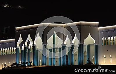 Het Paleis van emirs bij nacht, Doha