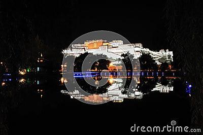 Het Paleis van Potala bij nacht
