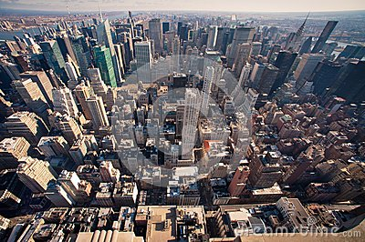 Het panorama van Manhattan in NYC