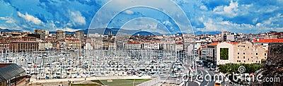 Het panorama van Marseille, Frankrijk, beroemde haven.