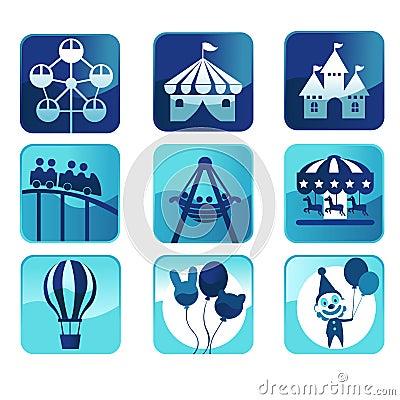 Het parkpictogrammen van het thema