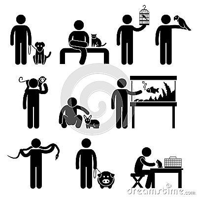 Het Pictogram van de mens en van Huisdieren