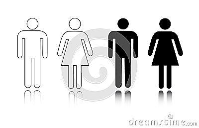 Het pictogrammannetje en wijfje van het toilet