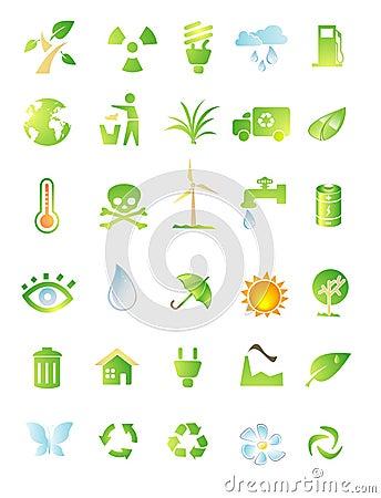 Het pictogramreeks van het milieu