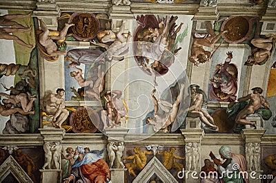 Het plafond in de Kapel Sistine in het Vatikaan Redactionele Stock Foto