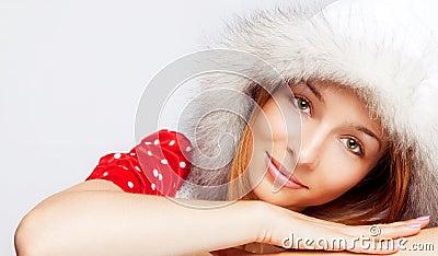 Het portret van Kerstmis van mooie jonge vrouw