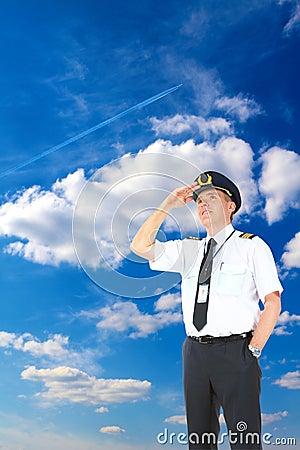 Het proef upwards kijken van de luchtvaartlijn