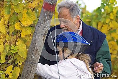 Het proeven van de druiven met grootvader