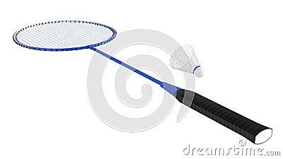 Het racket van het badminton met shuttle