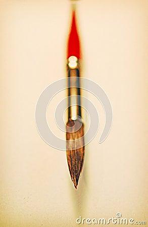 Het rode detail van de verfborstel