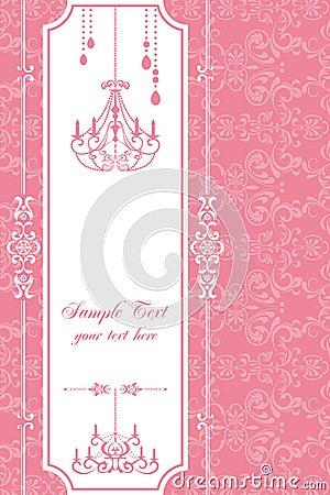 Het roze frame van de kroonluchter