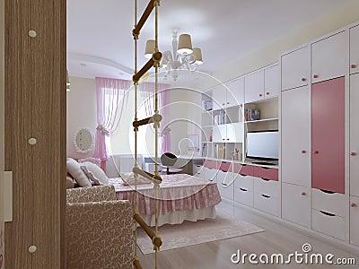 Het ruime ontwerp van de tienerslaapkamer stock illustratie afbeelding 56431889 - Foto van tiener slaapkamer ...