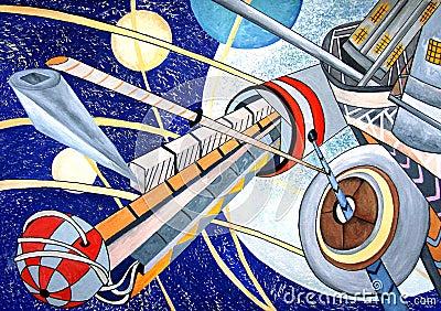 Het ruimte originele schilderen van de kosmos met planeten stock fotografie afbeelding 27413302 - Ruimte van de jongen kleur schilderen ...
