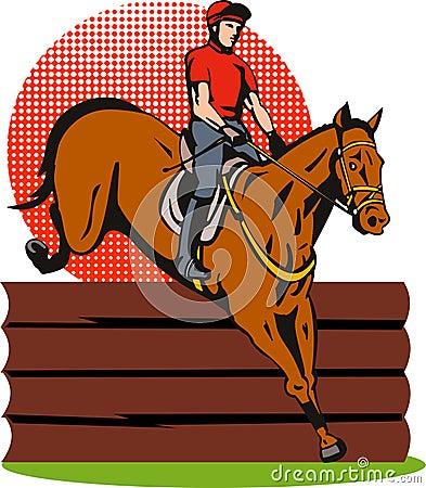 Het ruiter en paard springen