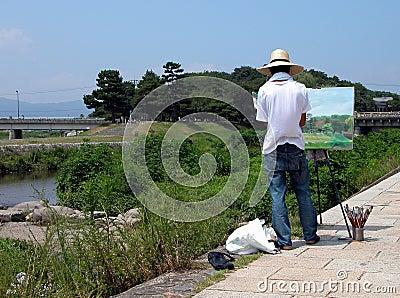 Het schilderen op de rivieroever