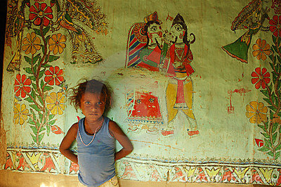 Het schilderen van Madhubani in bihar-India Redactionele Foto