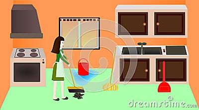 Het schoonmaken van de keuken royalty vrije stock for Keuken schoonmaken