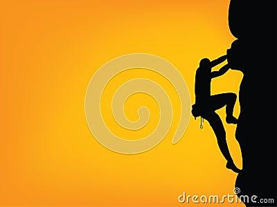 Het silhouet van de klimmer