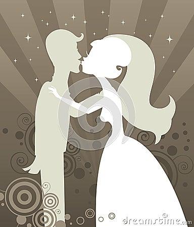Het Silhouet van de Kus van het huwelijk