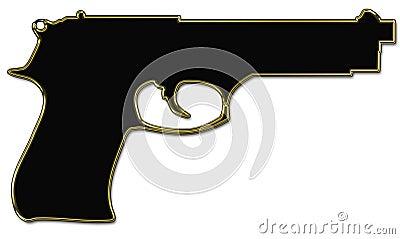 Het silhouet van het kanon
