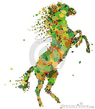 Het silhouet van het paard.