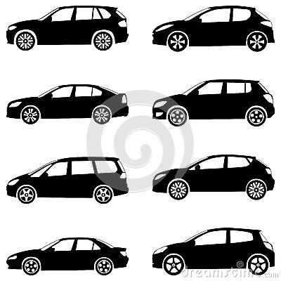 Het silhouetreeks van auto s