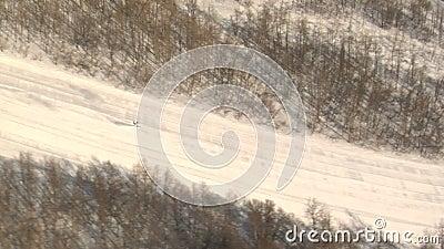 Het ski?en onderaan sneeuwberg stock video