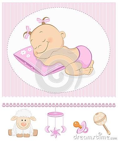 Het slapen de zoete aankondiging van de meisjesaankomst