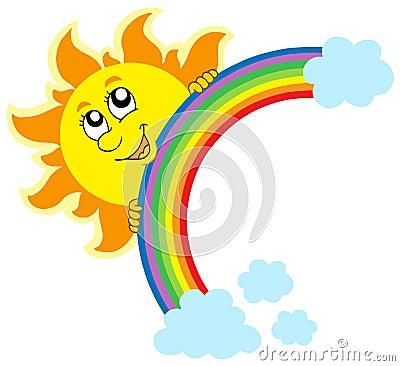 Het sluimeren van Zon met regenboog