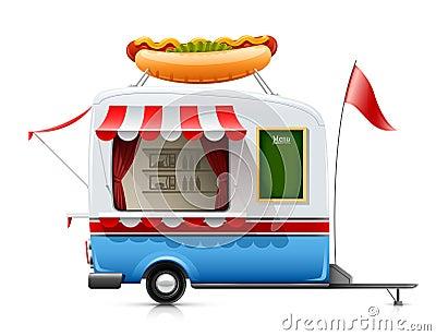 Het snelle voedselhotdog van de aanhangwagen