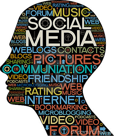 Het sociale silhouet van Media van hoofd met de woorden