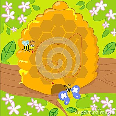 Het spel van het labyrint met bij en vlinder