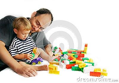 Het spelen van de vader en van de zoon