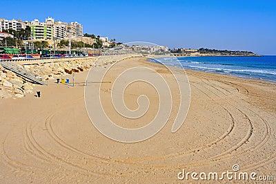 Het Strand van het mirakel in Tarragona, Spanje